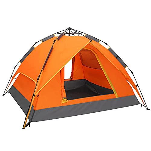 wangpu Automatisches Pop Up Campingzelt, 3-4 Personen Doppelschicht Familienzelt mit 2 Tür und 4 Fenstern, Wasserdicht Winddicht Zelte für Strand Trave Wandern