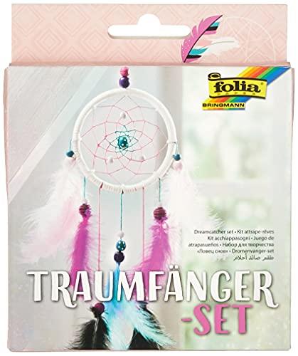 folia 23819 - Bastelset Traumfänger Girly - Set zum Erstellen eines wunderschönen Traumfängers in modernen Pastelltönen