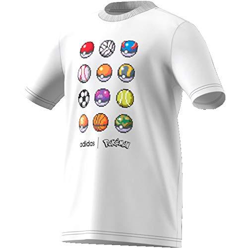 adidas Jungen YB PKM Tee T-Shirt, Blanco, 176 (15/16 años)