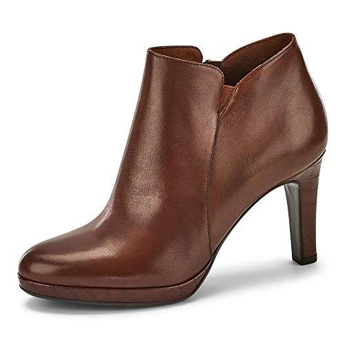 Tamaris 25386-25 Damen Stiefelette aus Glattleder Reißverschluss Pfennigabsatz, Groesse 36, cognac