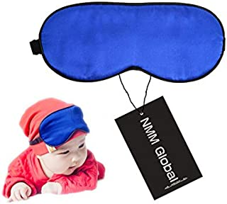 NMM Global 100% Mulberry Silk Sleep Mask for Kids, Cute Sleeping Mask for Baby, Super Soft Eye Mask for Sleeping Boys Girls(Baby Blue)