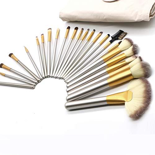 Make-up borstels draagbare lichtgewicht hoogwaardige beige schoonheid make-up kwast kit gereedschap, grootte: 25,4 * 52,6 cm voor vrouwen (24 stuks)