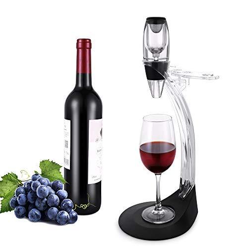 Set de regalo de aireador de vino Tomoral Deluxe – Kit de accesorios de vino con decantador de aireador de vino, torre de almacenamiento, el mejor regalo para amantes del vino y entusiastas (Black)
