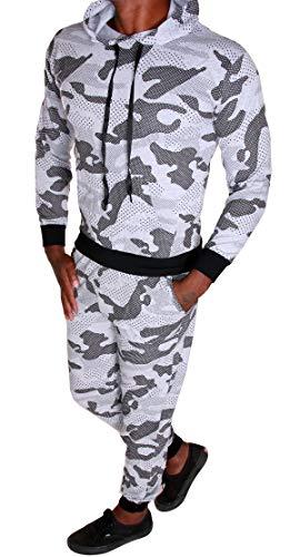 RMK Herren Jogginganzug Trainingsanzug Sportanzug Sommer Dünner Stoff Camouflage Army Tarn Fitness Streetwear A.4848 (Grau-Schwarz, L)