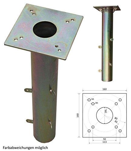 ProKIRA® Universal Bodenhülse Bodenplatte für Sonnenschirme & Wäschespinnen Gartenschirm, Schirmständer geeignet, 16x16cm, einfache Montage
