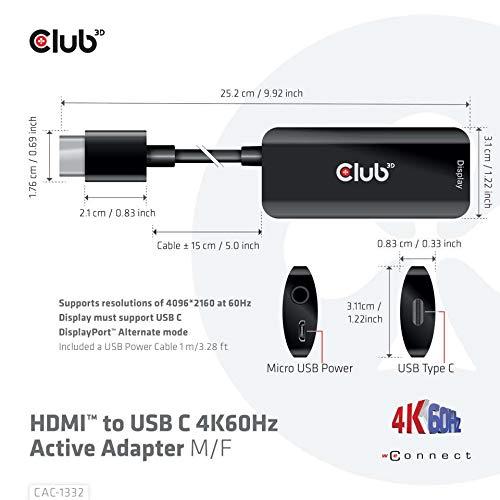 Club 3D HDMI™ zu USB C 4K60Hz Active Adapter Stecker/Buchse, CAC-1332