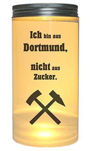 WB wohn trends LED-Licht Ich Bin aus Dortmund Nicht aus Zucker, 14x7cm Dose mit Deckel Leuchte LED-Lampe mit Text Spruch