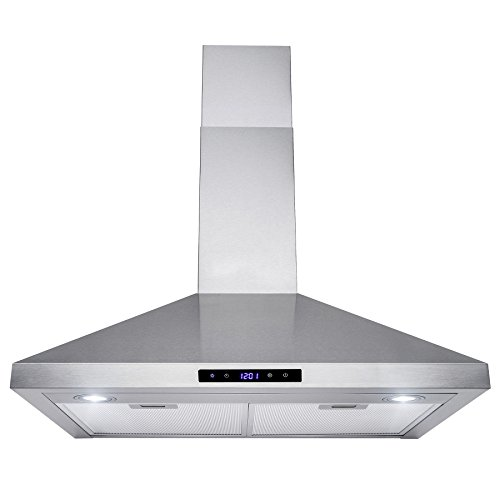 Golden Vantage 30' Wall Mount Stainless Steel Touch Control Kitchen Range Hood Cooking Fan w/ Mesh Filter