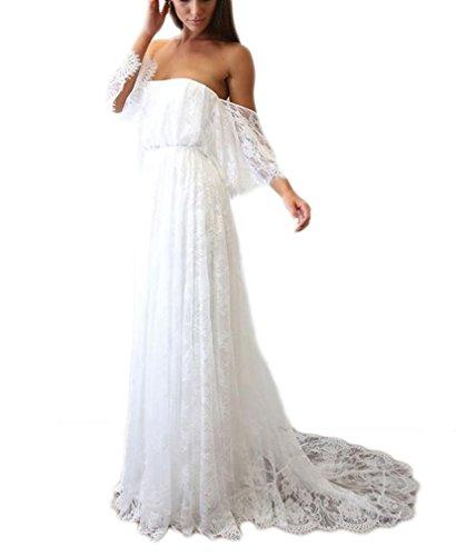 DreHouse Women's Vintage Lace Off-The-Shoulder Beach Wedding Dresses Bohemian Bridal Gowns