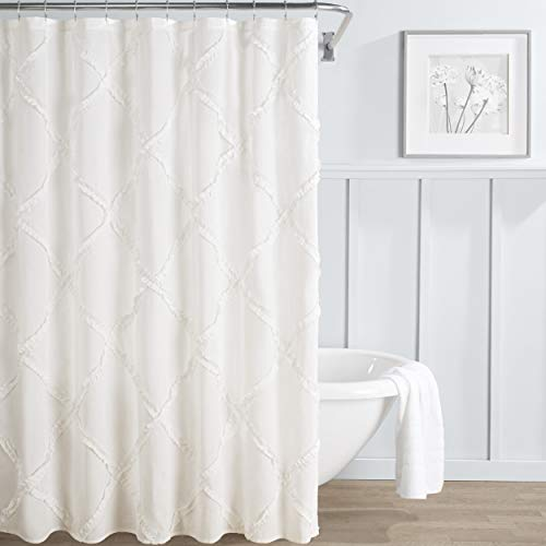 """Laura Ashley Home Adelina Collection Shower Curtain-100% Cotton, Machine Washable for Easy Care, 72"""" x 72"""", White"""