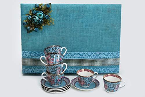 Vikas Khanna By Celeste Moksha Hand Craft - Juego de 6 tazas y platillos de cerámica chapada en oro de 24 quilates, color azul turquesa