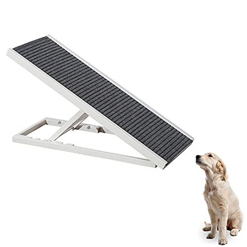 DUTUI Rampa para Mascotas Plegable Ajustable En Altura, Rampa para Perros Que Puede Llegar A Camas Altas Y Sofás, Escalera para Mascotas Duradera, Carga De 50 Kg,Blanco