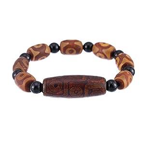 Prime Feng Shui Tibetisches Dzi Armband mit 3 Augen Dzi und 9 Augen Dzi und schwarzen Perlen Amulett Armreif zieht positive Energie und Glück an