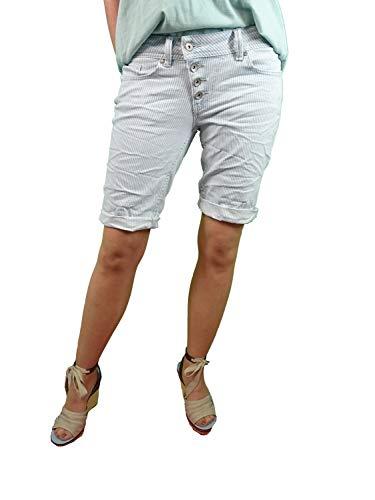 Buena Vista | Damen Sommer Shorts |gestreifte Bermuda | Malibu | Stretch Twill | Kurze Hose zum krempeln White Blue S