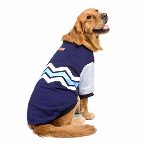 RETUROM Ropa para Mascotas, Suéter con Capucha de Warm Thick Wave Grueso de la Camisa Ropa para el Perro Grande Grande (XXXL, Azul)
