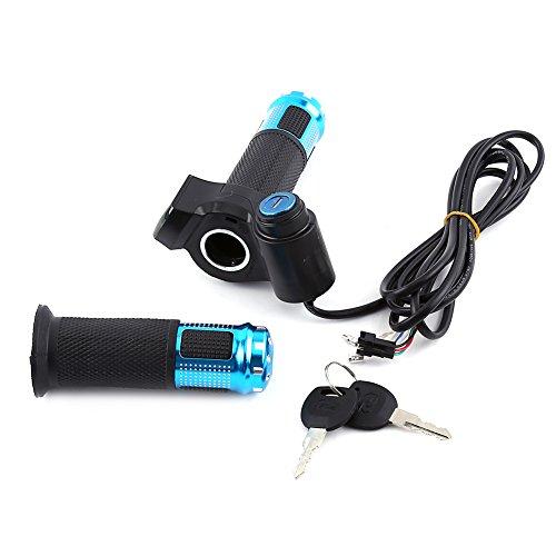 Alomejor, manopola acceleratore per manubrio di bici elettriche e scooter, con display a LED, Blue