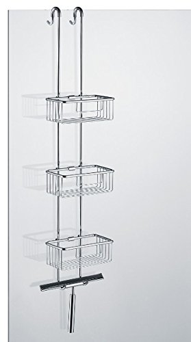 Price comparison product image Shower Shelf Shower Basket with 3 Baskets for Hanging Including Towel Rail and Glass Wiper