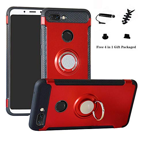 LFDZ Xiaomi Mi 8 Lite Anillo Soporte Funda 360 Grados Giratorio Ring Grip con Gel TPU Case Carcasa Fundas para Xiaomi Mi 8 Lite Smartphone (Not fit Xiao Mi 8),Rojo