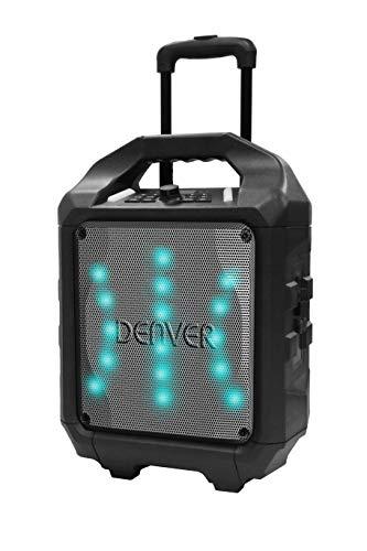 Denver TSP-505 Altavoz Portátil Bluetooth de 8' con batería Recargable incorporada y luz LED en la Parte Delantera. Volumen 50W. Entrada USB para Entrada MP3 y AUX