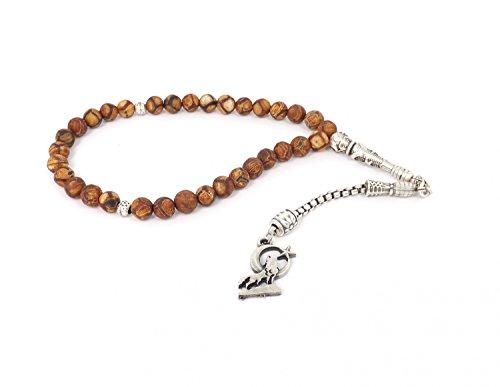 Remi Bijou Gebetskette - Tesbih 33 Perlen aus Achat Braun mit Anhänger 'Heulender Wolf' Mond Ay Yildiz