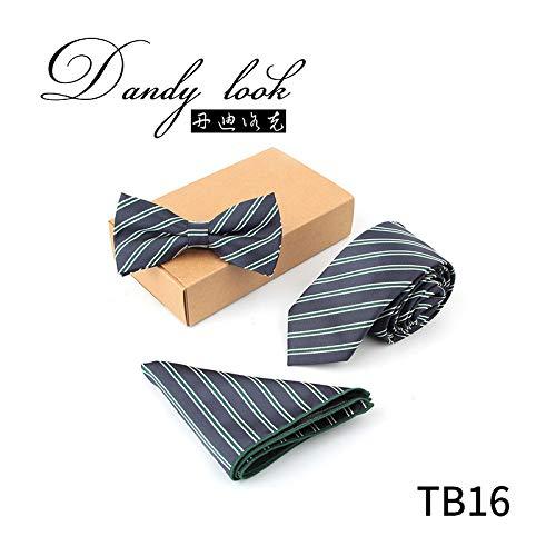 LBBJJ Men's Tie Driedelige stropdas Jacquard executive business strik zakdoek driedelige pak, TB16 heeft: stropdas, mode stropdas, eenvoudige stropdas, vintage stropdas, klassieke stropdas, herenstropdas.