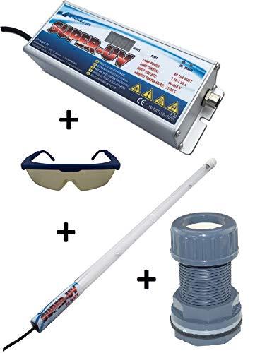 Air Aqua Hochleistungs-Tauch UVC Lampe Amalgam 75 Watt Bausatz Koi-Teich, Pool inkl. Durchführung und Schutzbrille