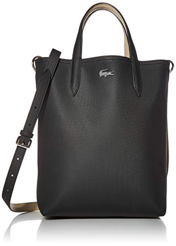 Lacoste Women Anna Vertical Shopping Bag, Black Warm Sand