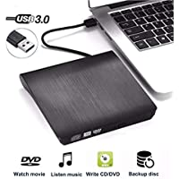 QueenDer Lector DVD Externo, Unidad Grabadora DVD/CD Externa USB 3.0 CD/DVD-RW Reproductor Portátil Diseño Externo DVD Player Compatible con Windows10/8/7/XP/Linux/Mac OS Pare PC/Notebook/Computer