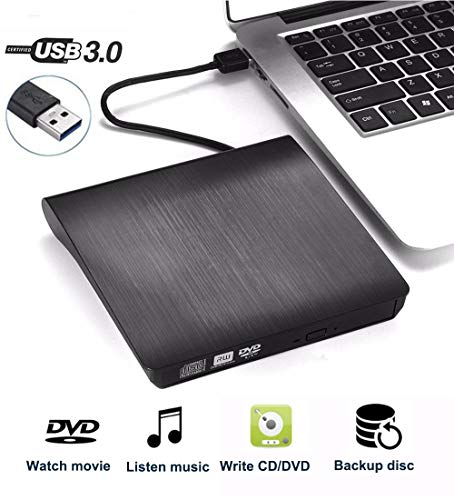 QueenDer Externe DVD Drive, USB 3.0 Draagbare DVD/CD-RW Brander Driver Slim DVD CD Speler Plug en Play voor Desktop/Computer/Notebook/Ultrabook Windows/Mac OS/MacBook/Pro/Air/Mac, zwart