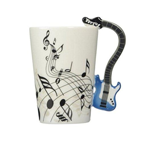 ufengke-ts Musikalische Anmerkungs Entwurfs Keramik Kaffeetasse Teetassen, Kreativer Blauer Gitarren Griff Personifizieren Kaffeetasse Milch Becher, Für Geschenk Und Haushalts,Büro