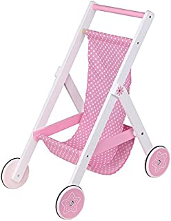 Lelin Wooden Childrens Baby Doll Pretend Play Pushchair Stroller Buggy