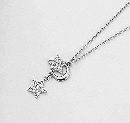 BACKZY MXJP Collar Sweet Moon Star Fresh Clavícula Cadena Temperamento Personalidad Collar Femenino