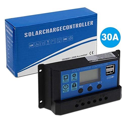 Panel solar PWM Regulador 30A 12V-24V USB de doble pantalla digital controlador de carga solar para acumuladores de plomo