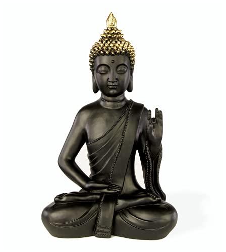 ROOMind Deko Buddha Figur - Orientalische Deko für Wohnzimmer, Bad und Garten - Höhe 31cm - Wetterbeständige Deko Skulptur für Innen und Außen
