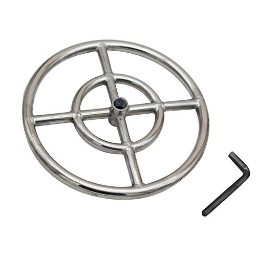 MENSI 12' Stainless Steel Double Fire Ring Burner for Gas Fire Pit 92,000 BTU