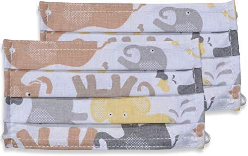 fashionchimp ® 2er-Set Kinder Mundschutz-Maske aus 100% Baumwolle, Gesichtsmaske, waschbar, EU-Ware, OEKOTEX (Elefanten)