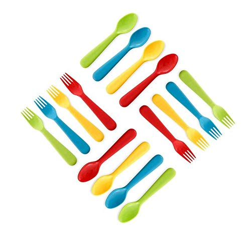 Plaskidy Plastic Toddler Utensils Set 8 Kids Forks and 8 Kids Spoons - BPA Free/Dishwasher Safe Toddler Silverware Brightly Colored Kid Plastic Cutlery Set, Great for Kids and Toddlers Utensils