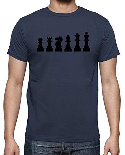 latostadora - Camiseta Evolucion de Ajedrez para Hombre Denim S