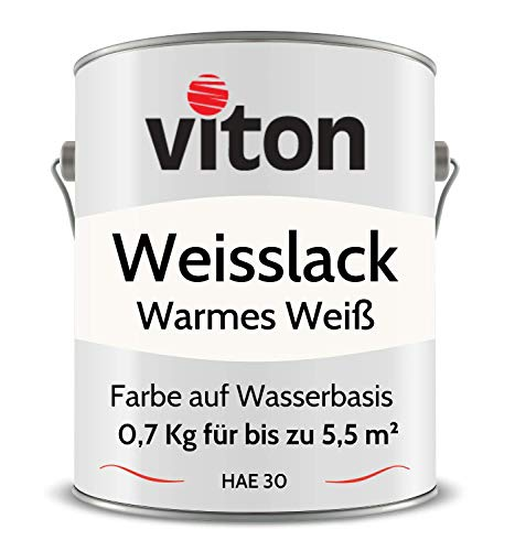 VITON Weißlack - 0,7 Kg - RAL 9010 Reinweiß (Warmes Weiß) - Seidenmatt - 2in1 Premium Weisslack - Hohe Beständigkeit & Deckkraft - Alle Oberflächen - Türlack, Fensterfarbe - HAE 30