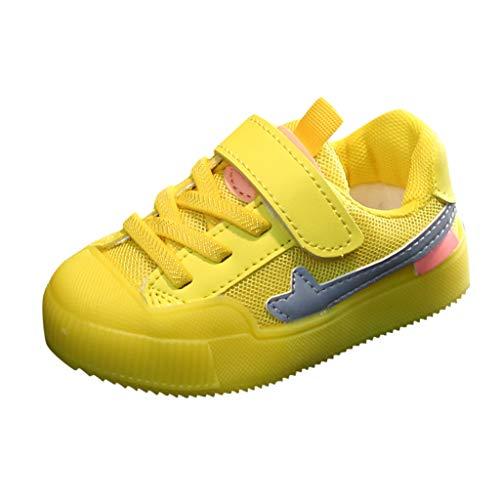ZOREFINE Zapatos de Colores Brillantes para niños nuevos niños y niñas Zapatos Deportivos de otoño e Invierno de Malla Transpirables (22.5-29 UE) (28 EU, Amarillo)