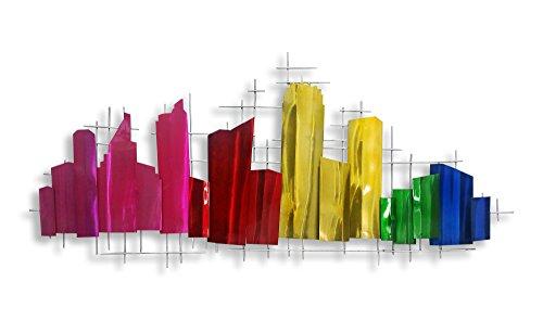 World Art Profil de la Ville Ciudad Perfil Cuadro, Metal, Multicolor, 130x5x57 cm