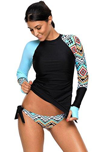 EwigYou Damen Große Größen Neoprenanzug Zweiteiliger UV Schutz Surfanzug Badeanzug Schwimmanzug mit Slip Wassersport AnzugEU 38 /Herstellergröße M Blau