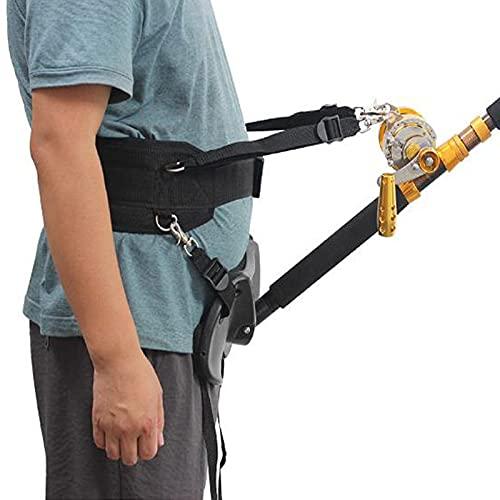 ZLHW Porte-canne de ceinture de ventre de pêche de bateau, ceinture de combat de canne à pêche réglable, ceinture de combat de pêche, ensemble réglable de tige de cardan de ceinture de taille, avec bo