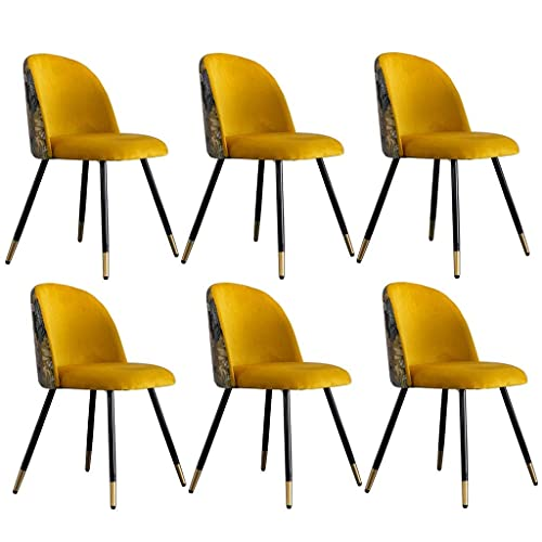 WYBW Inicio Silla de comedor, juego de 6 sillas de comedor Cómodo asiento tapizado suave Cocina Ocio Retro Terciopelo bordado Patchwork Sillón con pata de metal,C