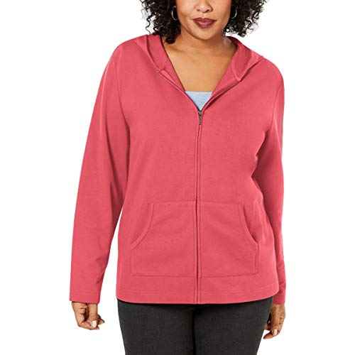 Karen Scott Sport Womens Plus Fitness Workout Hoodie Pink 1X