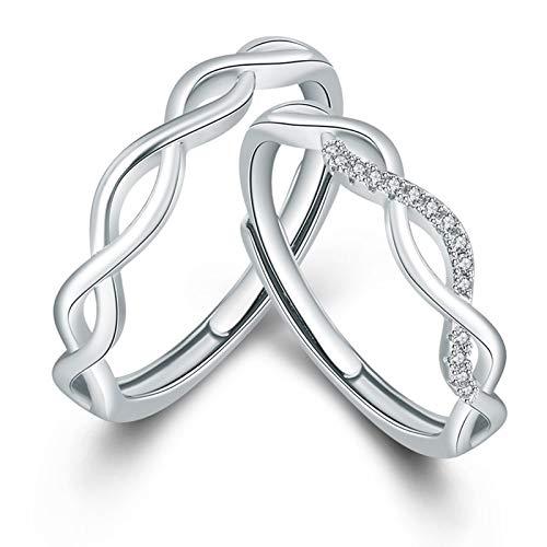 ANAZOZ Schmuck Partnerringe für Sie & Ihn 925 Silber Verlobungsringe Keltischer Knoten Verstellbar Ringe Herren