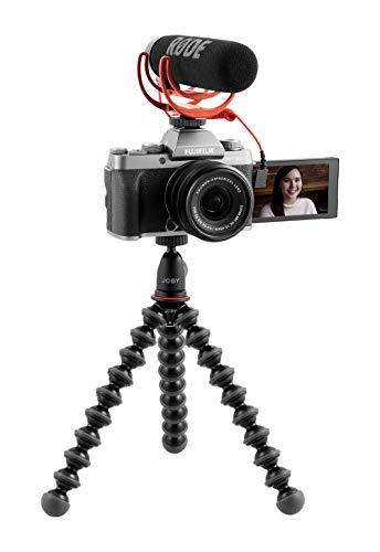 Fujifilm X-T200 Vlogger Kit, fotocamera digitale mirrorless 24MP in KIT con obiettivo XC15-45mm, Rоdе VіdеоМіс Gо, Јоbу Kit GorillaPod 1K, SDHC 16GB, Dark Silve