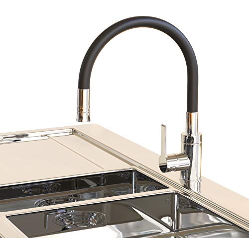 Küchenarmatur flexibel drehbar Wasserhahn mit Mischbatterie, Spültischarmatur Küche und Bad, Brause ausziehbar by AQUAM