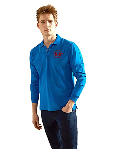La Martina Herren Man Polo L/S Piquet Stretch Poloshirt, Blau (Blue Scotland 7015), Medium (Herstellergröße: M)