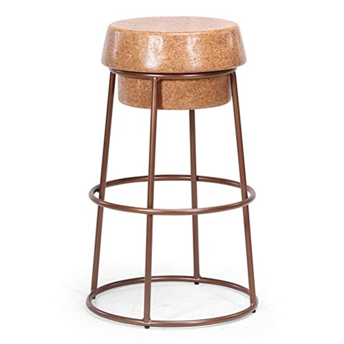 LY Barkrukken High Metal Counter Height Stool, Vintage Rustic Loft Pub Barkruk met metalen frame en Wood Seat, for Keuken Home Garden (Color : Brown, Size : 36x65cm)